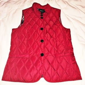 Lafayette 148 Red Quilted Diamond Vest Women's MED